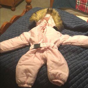 Ski onesie pink